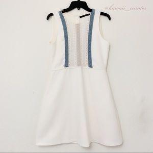 Zara White Dress w/ Lace Panels & Pom Pom Trim